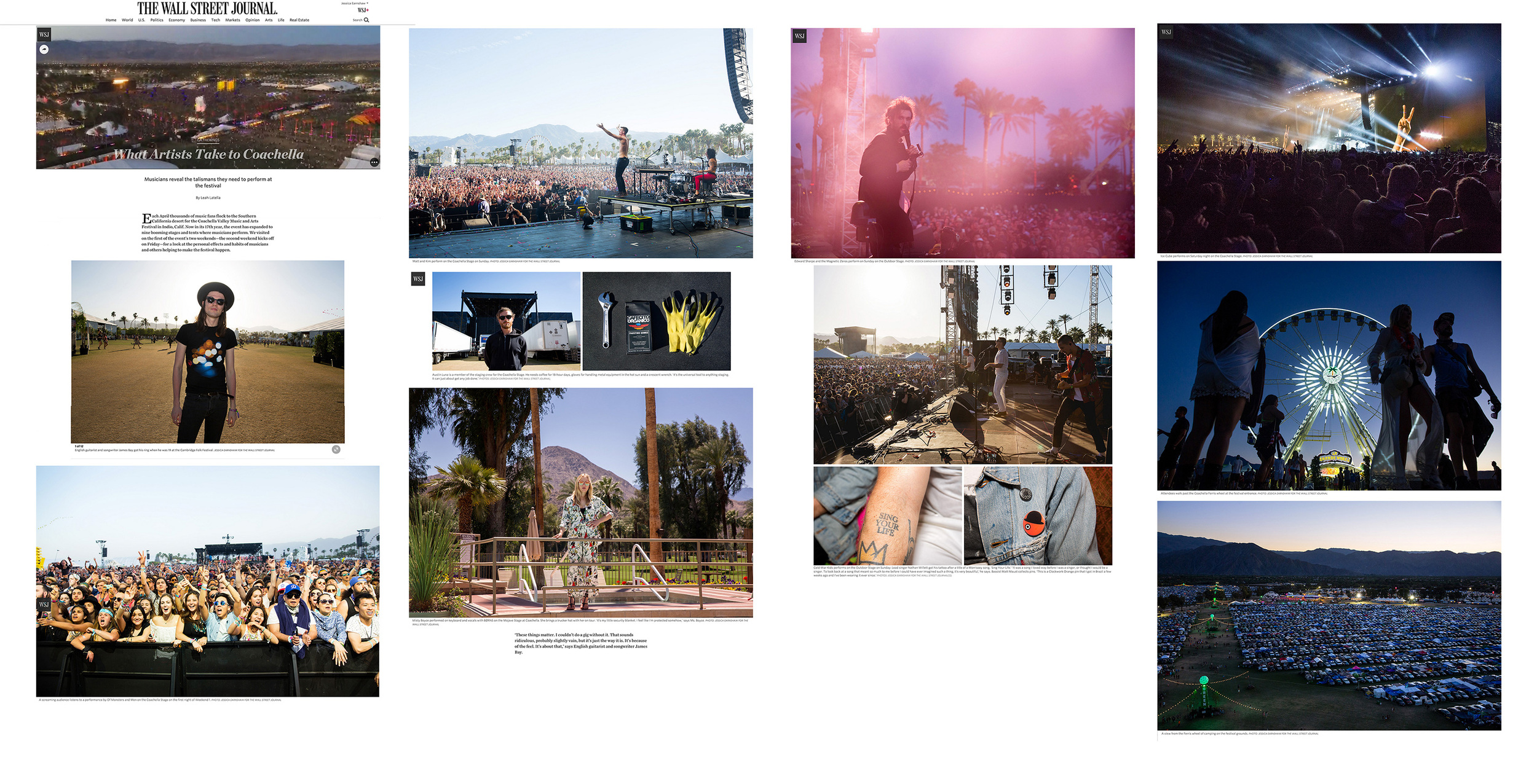 The Wall Street Journal,    What Artists Take To Coachella, April 23, 2016