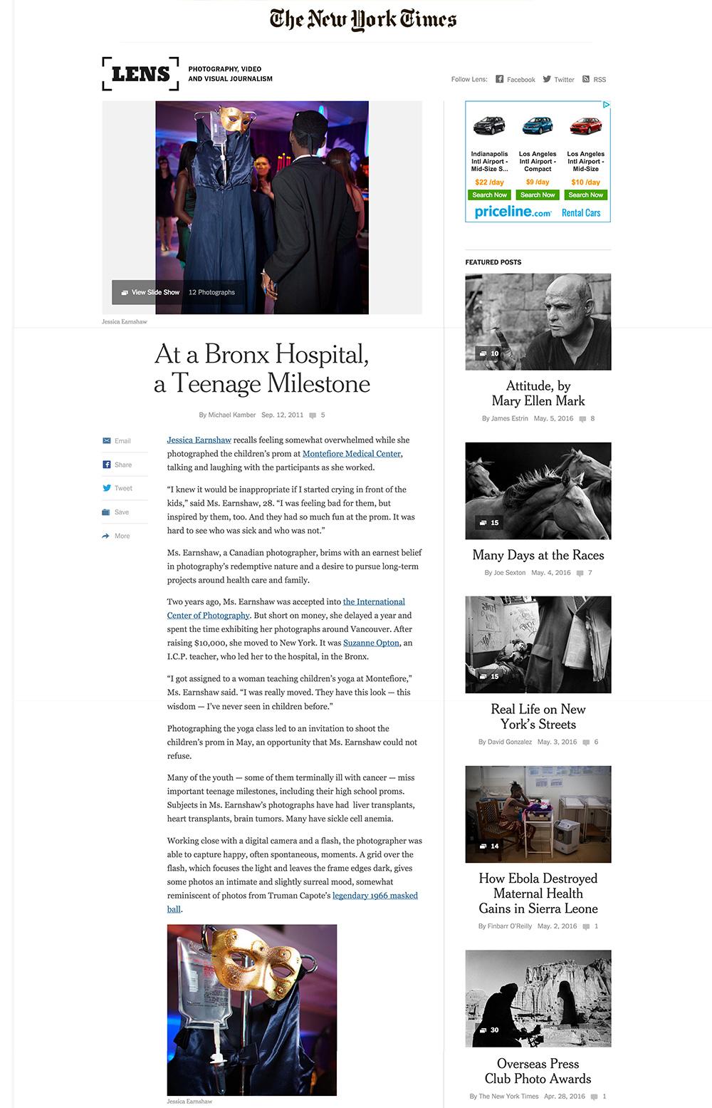 "New York Times Lens Blog (Photo Gallery),  ""Montefiore Children's Prom"", Sept 12, 2011"