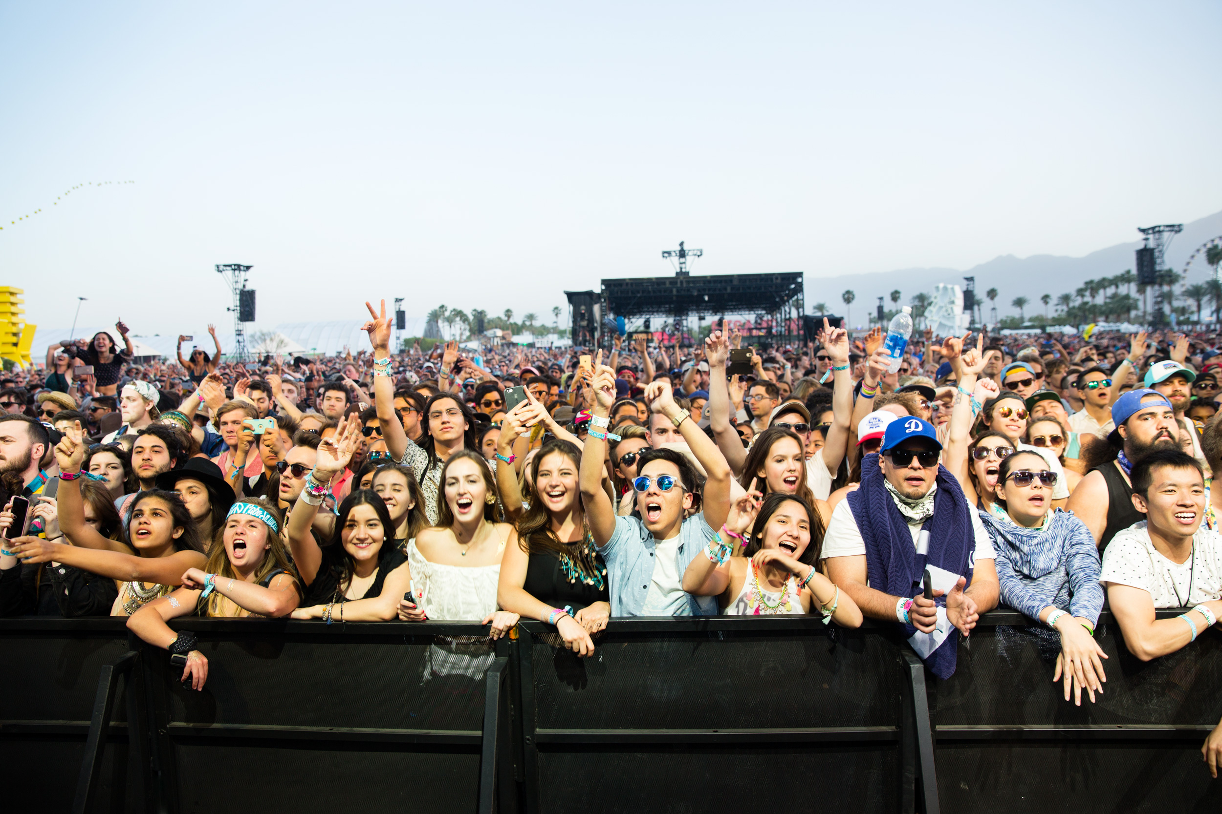 A screaming audience listens to a performance by Of Monsters and Men on the Coachella Stage on the first night of Weekend 1.  Originally published by The Wall Street Journal, as part of their story  ' What Artists Take to Coachella'