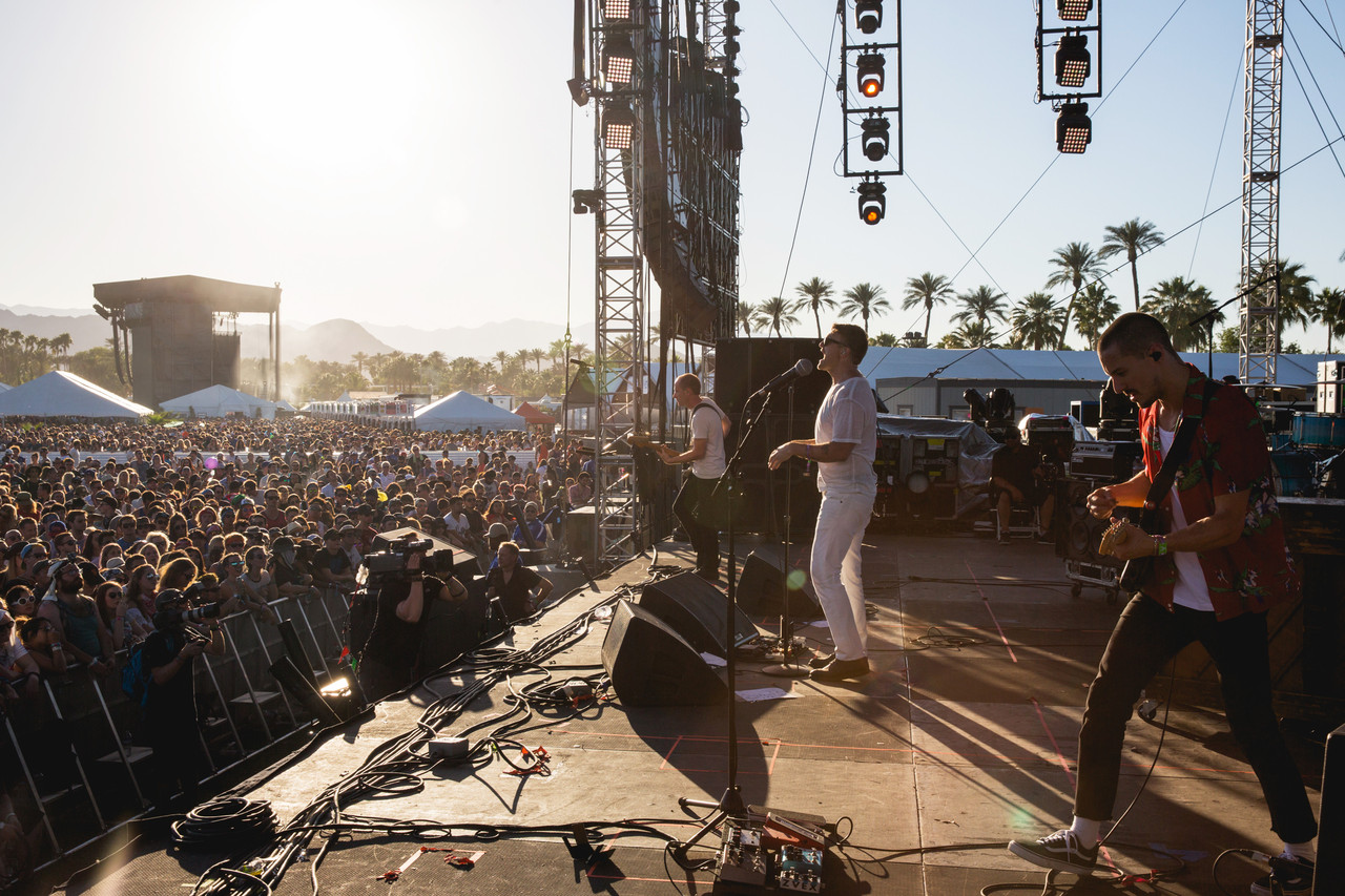 Cold War Kids performs on the Outdoor Stage on Sunday.