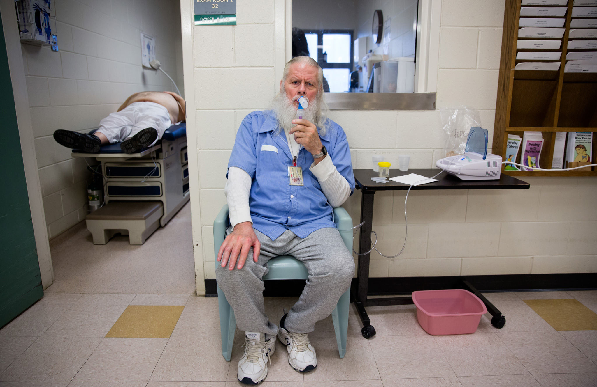 Robert, 70, is in prison medical four times daily for respiratory problems.  Prison systems across the country are facing a crisis as their populations gray. Rising medical costs are a factor in the growing costs of incarceration nationwide. Robert's medicial expenses cost the country between three and nine times more than the medical needs of a younger imate.