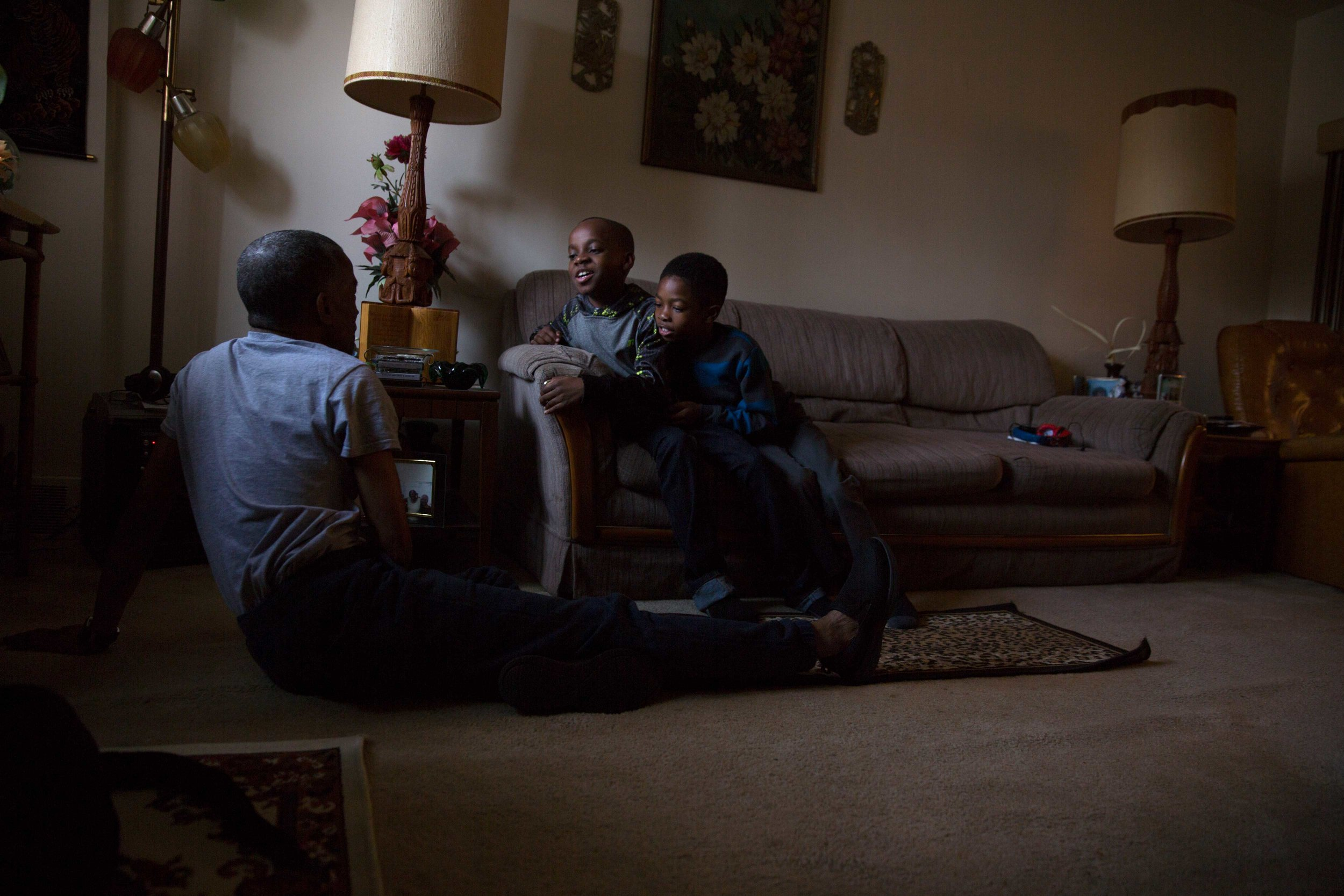 Ronald with his great nephews in the living room of Willie Mae's house in Philadelphia. This was the first time the three of them had met.