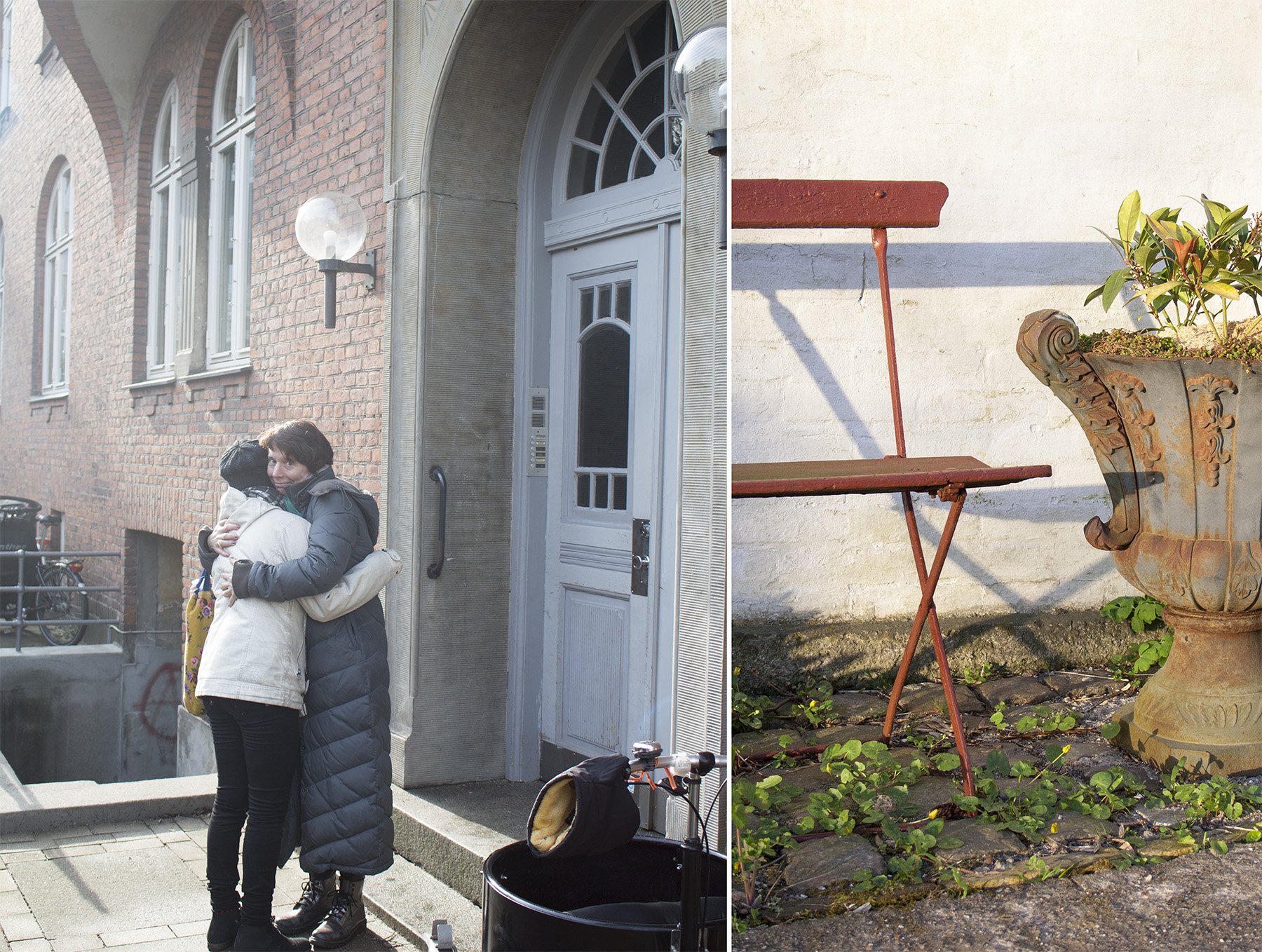 Kær founder, Marianne Møllmann, at her childhood home in Denmark, in February 2016, sharing an emotional moment with her daughter.