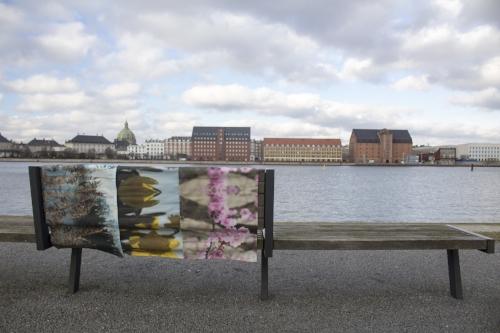 Another type of urban art: Kær table runners in Copenhagen harbor, overlooking the promenade.