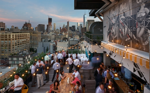 Azul rooftop bar in Soho, where you can always look at the skyline if you don't want to look at the movie. Plus, Monday night cocktails? I'm in.