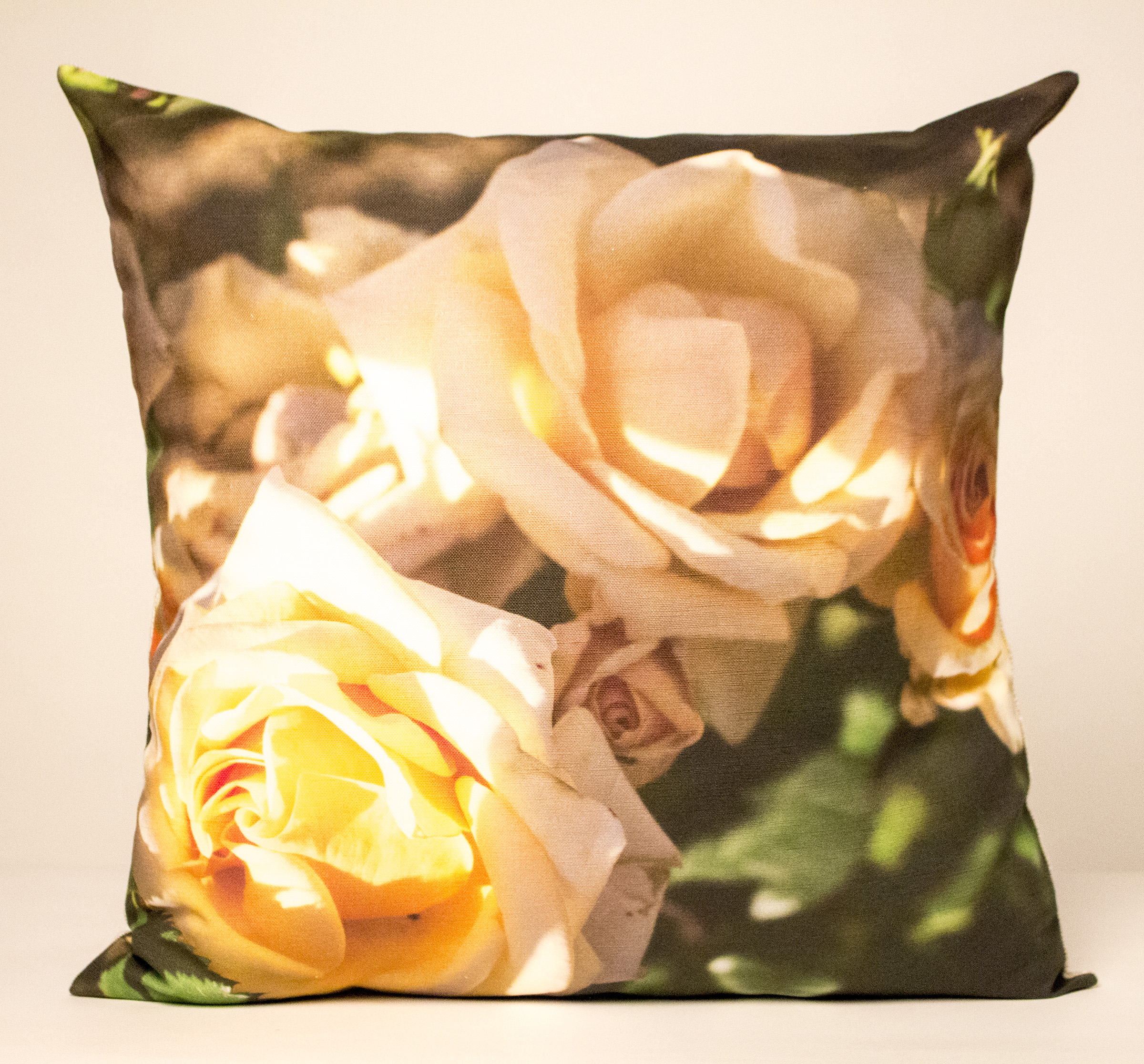 The sunshine on the roses on this  pillow  reminds me of the day I found them: right around the corner in Brooklyn, on a hot August afternoon. They bring summer home in such a real way, you can almost smell them. ...