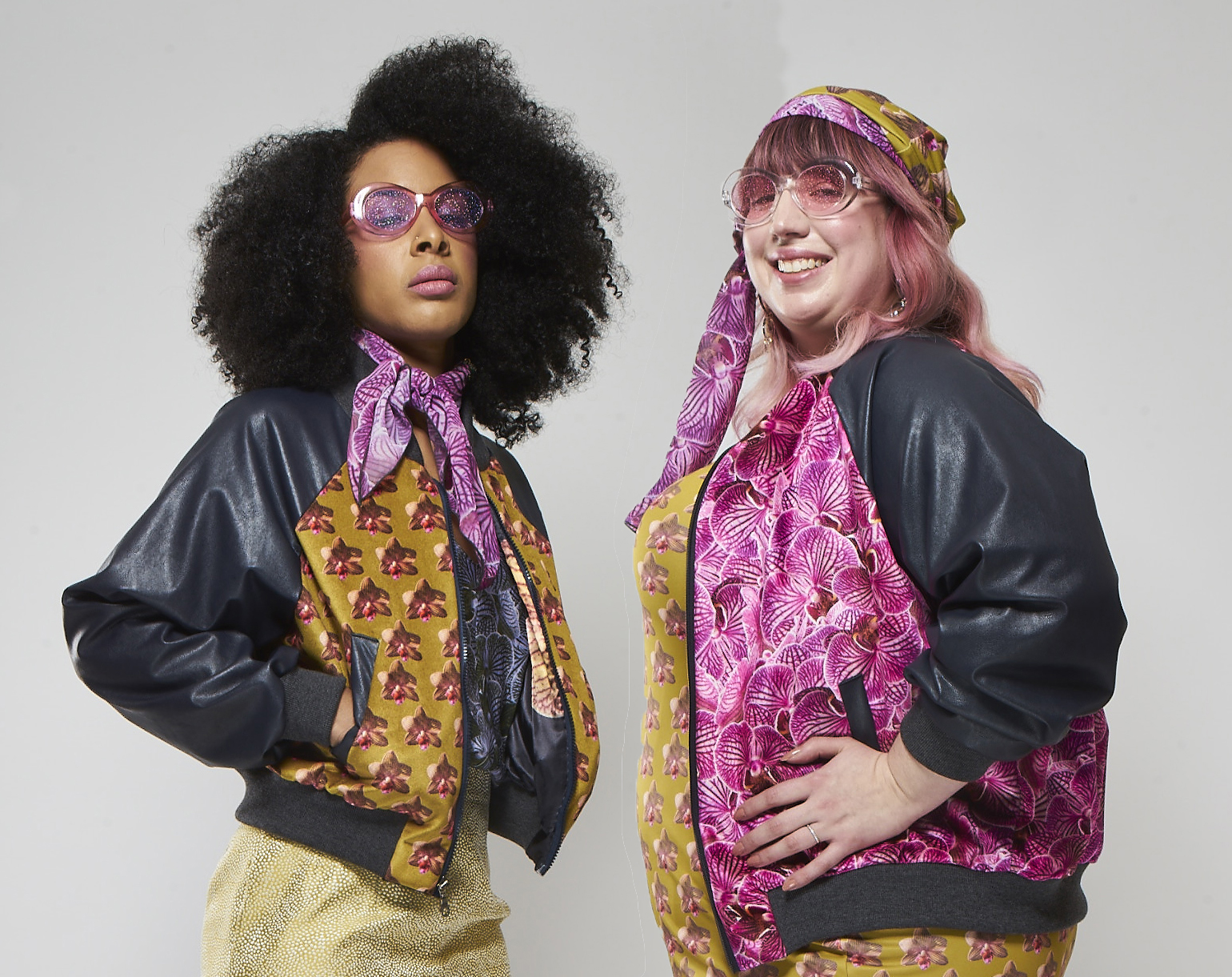 Maryam (left) is wearing  polkadot orchids , and Liz (right) is wearing  pink orchid luxe . Photography: Hassan Kinley Photography
