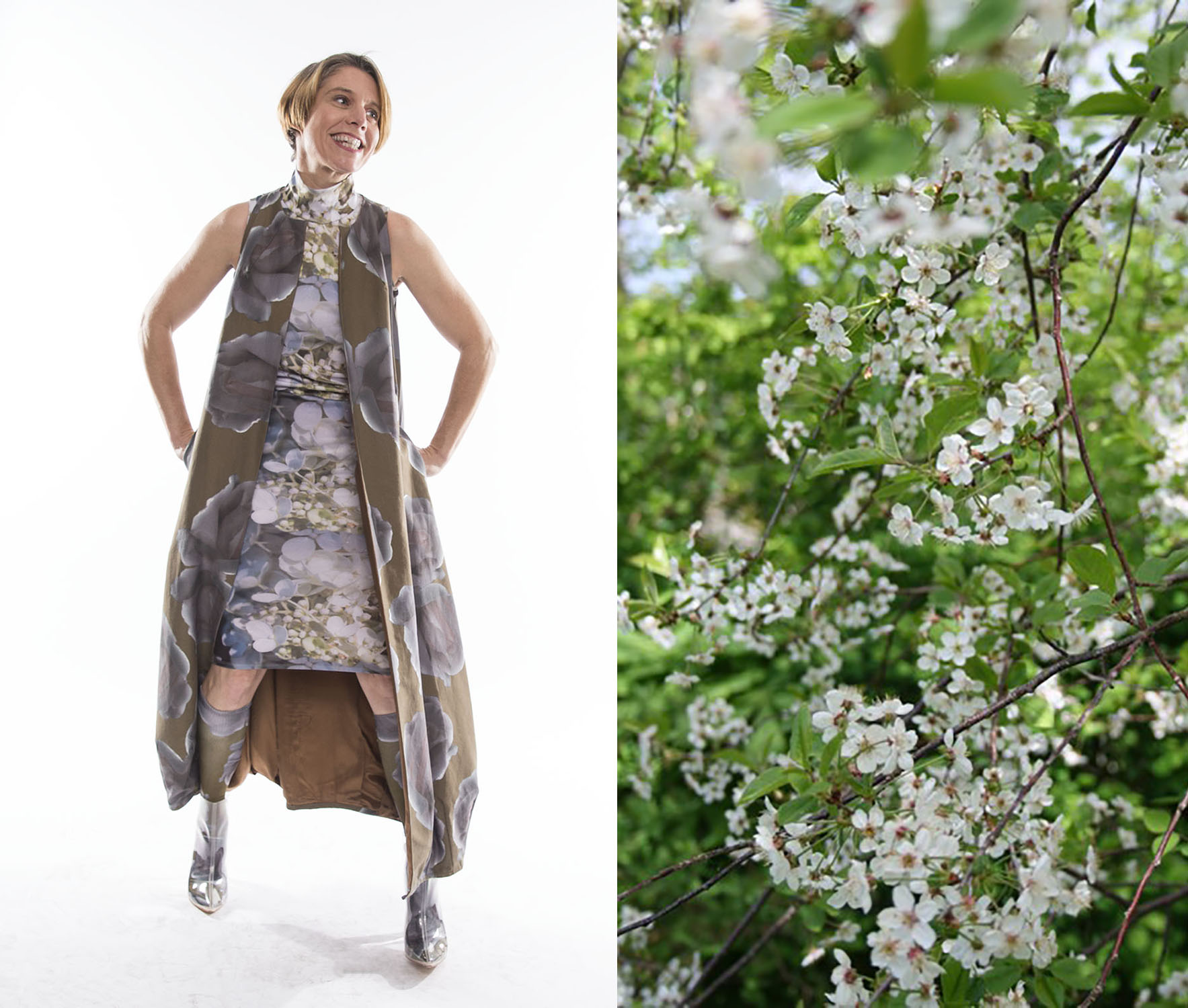 On the left is joyous me, wearing our  Everything's Coming Up Roses vest  and the  Lauryn dress  in rainclusters. On the right is the wild cherry tree in my mother's garden which JUST blossomed today as a remote birthday gift!!