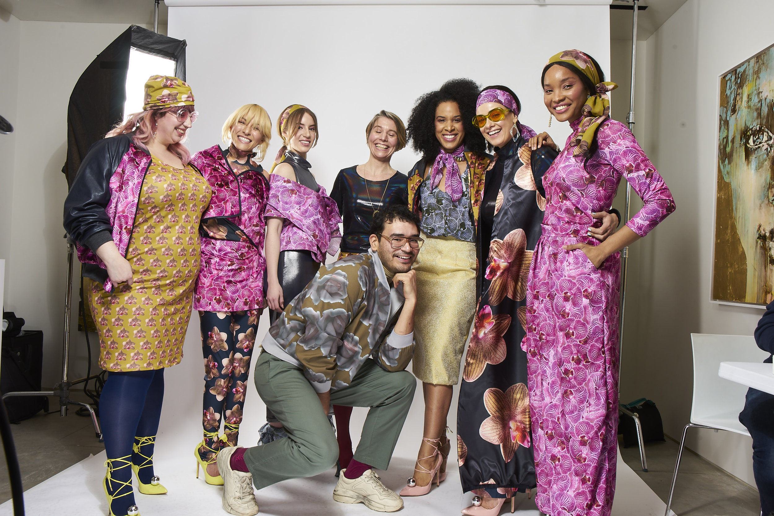 The crew, after our 2018 NYFW live shoot at Galleria Ca D'Oro in Chelsea, NYC. From left to right:  Liz ,  Danie ,  Ada ,  me ,  Phil ,  Maryam ,  Tijana , and  Bibi . Photo credit: Hassan Kinley Photography 2018.