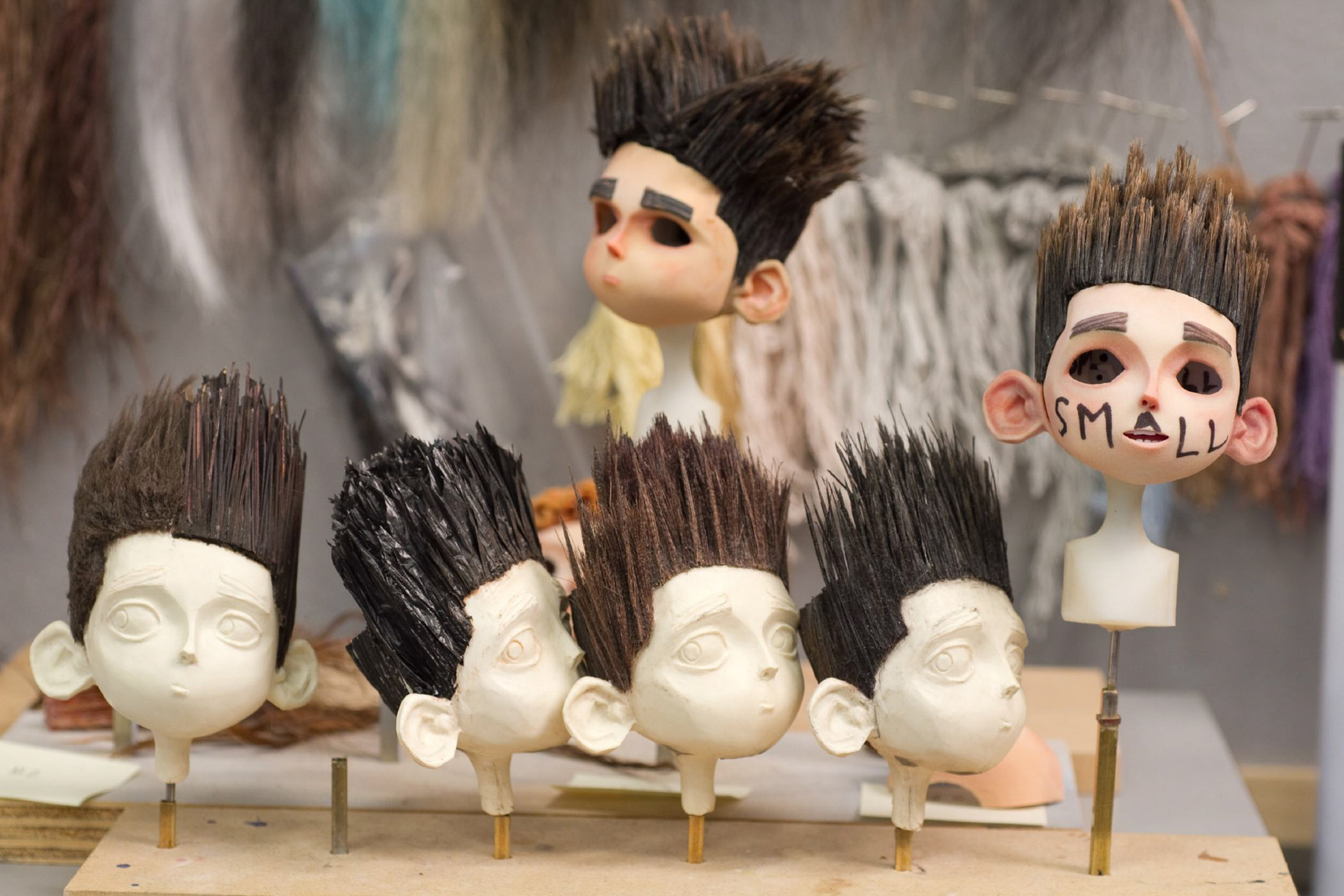 Many copies of wigs of Norman's hair had to be made for stunt sequences in the new 3D stop-motion comedy thriller ParaNorman.  Credit: LAIKA, Inc.