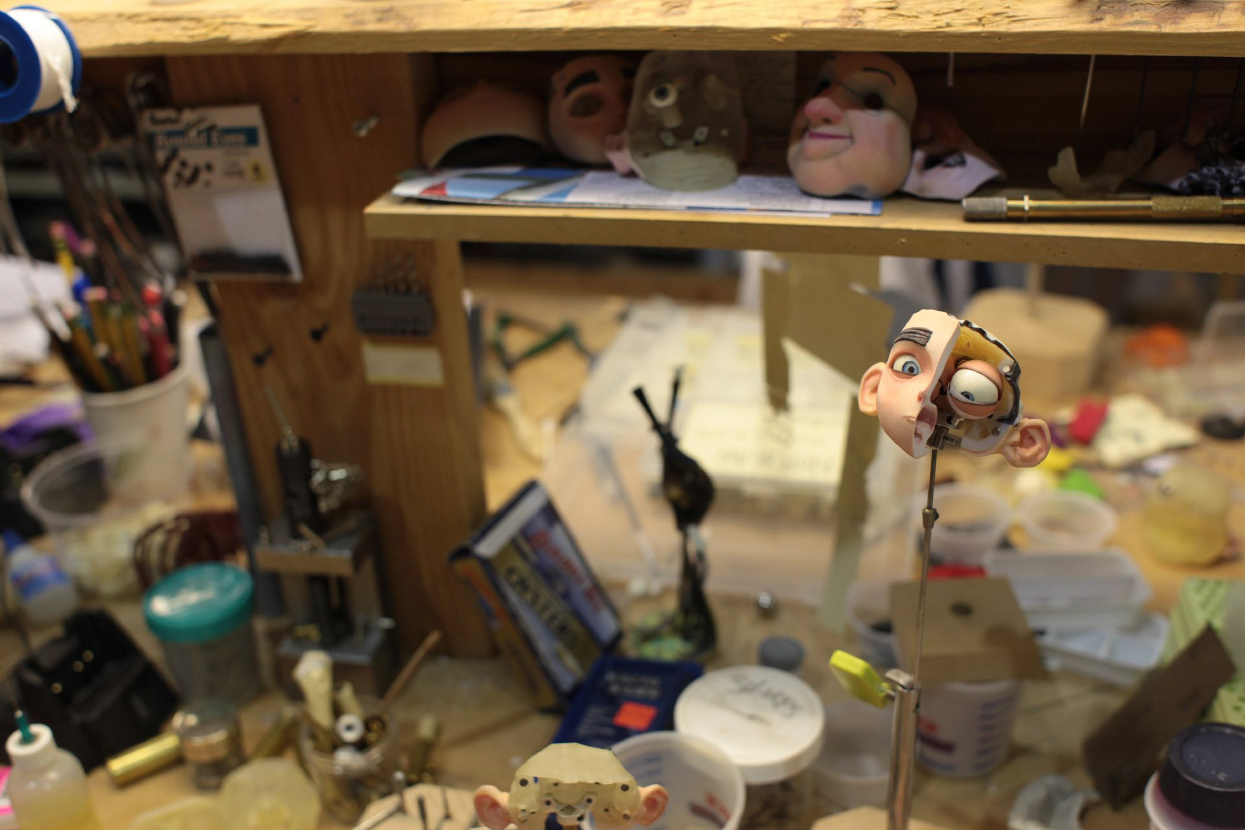 Two Faced? No, half-faced Norman being handmade at LAIKA Studios for ParaNorman, the new 3D stop-motion comedy thriller.  Credit: LAIKA, Inc.