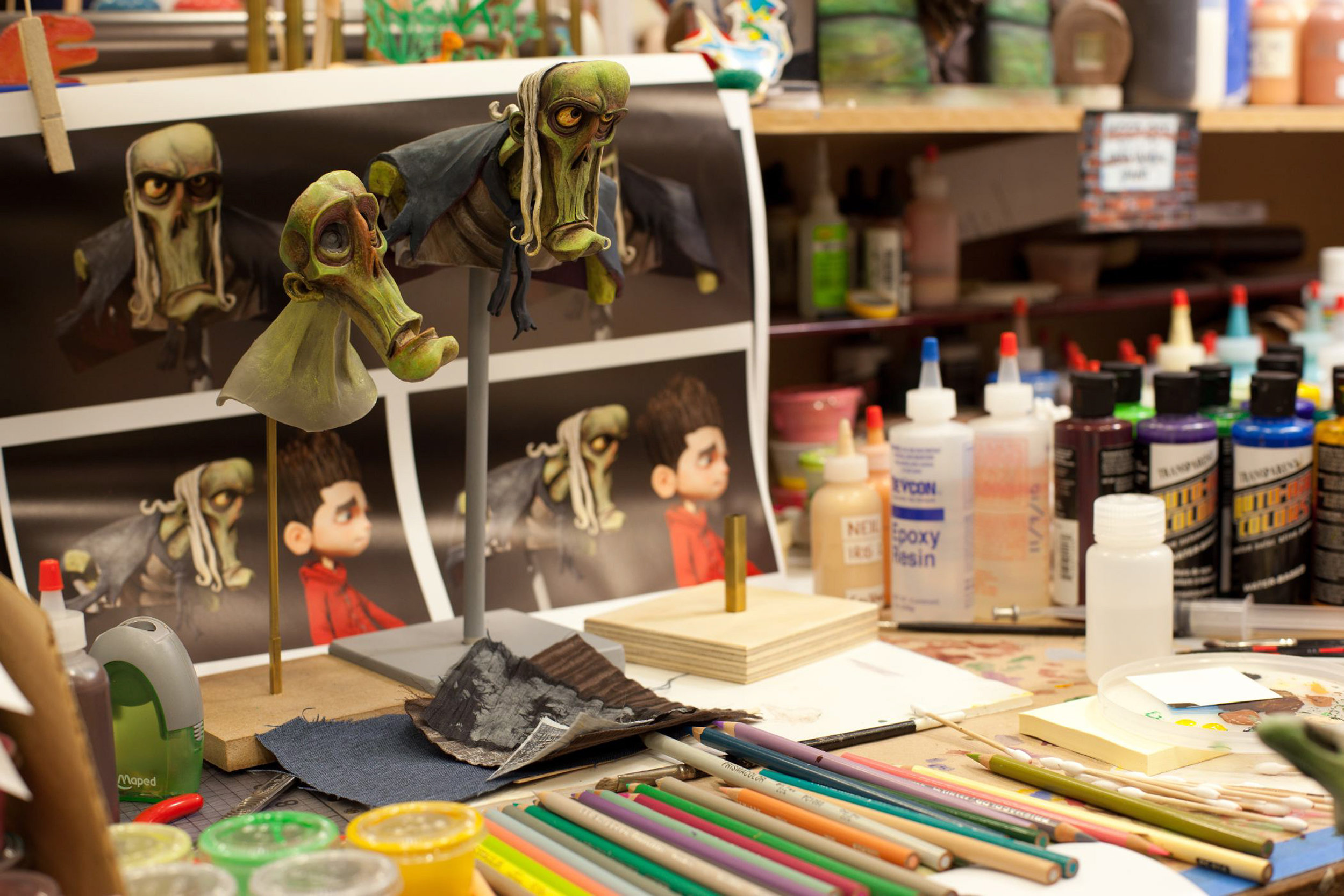 Hand-painting zombies takes many shades of green and other colors for ParaNorman, the new 3D stop-motion comedy thriller.  Credit: LAIKA, Inc.