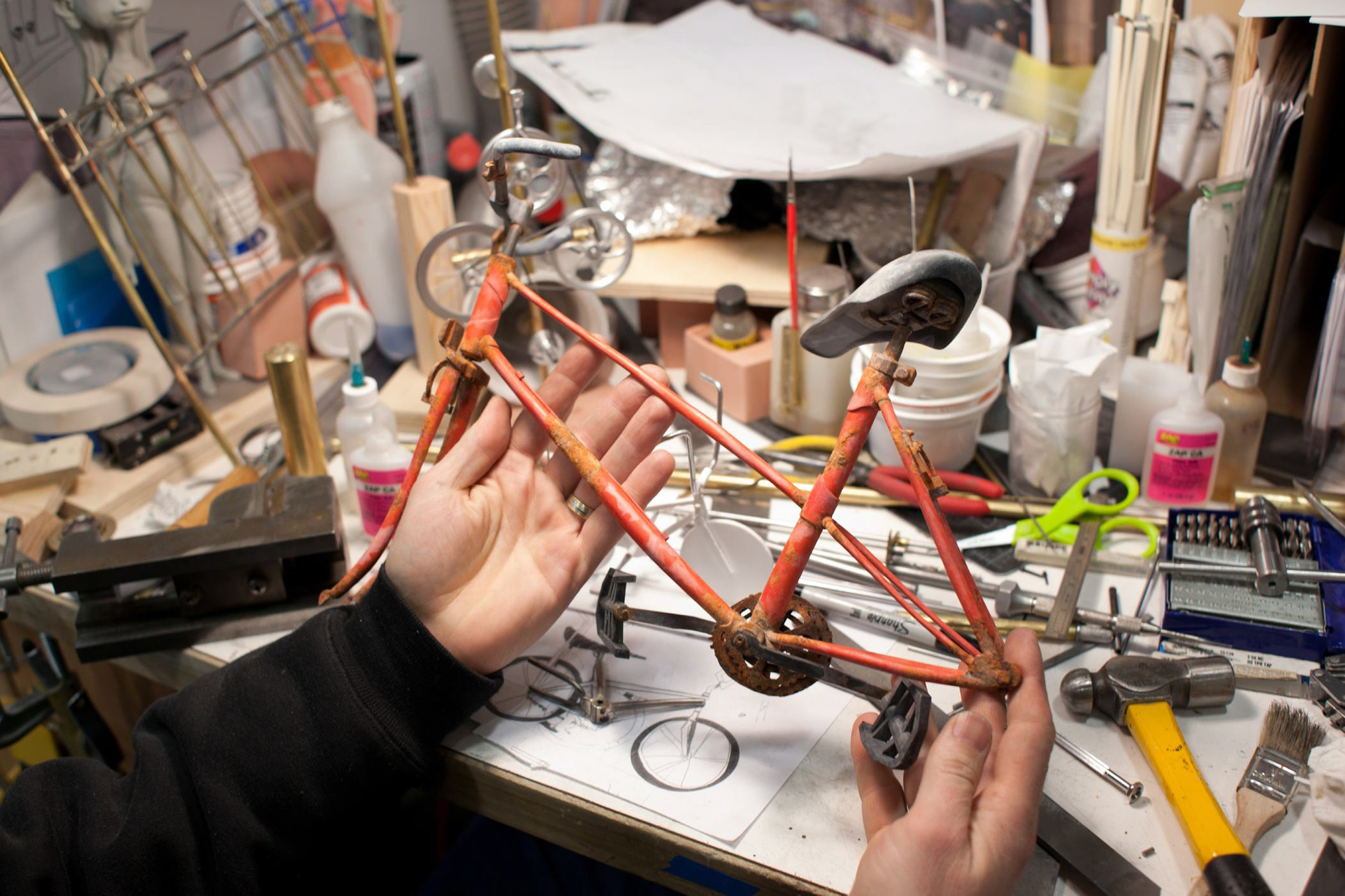 A bike was detailed right down to the rusted sprockets for ParaNorman, the new 3D stop-motion comedy thriller.  Credit: LAIKA, Inc.