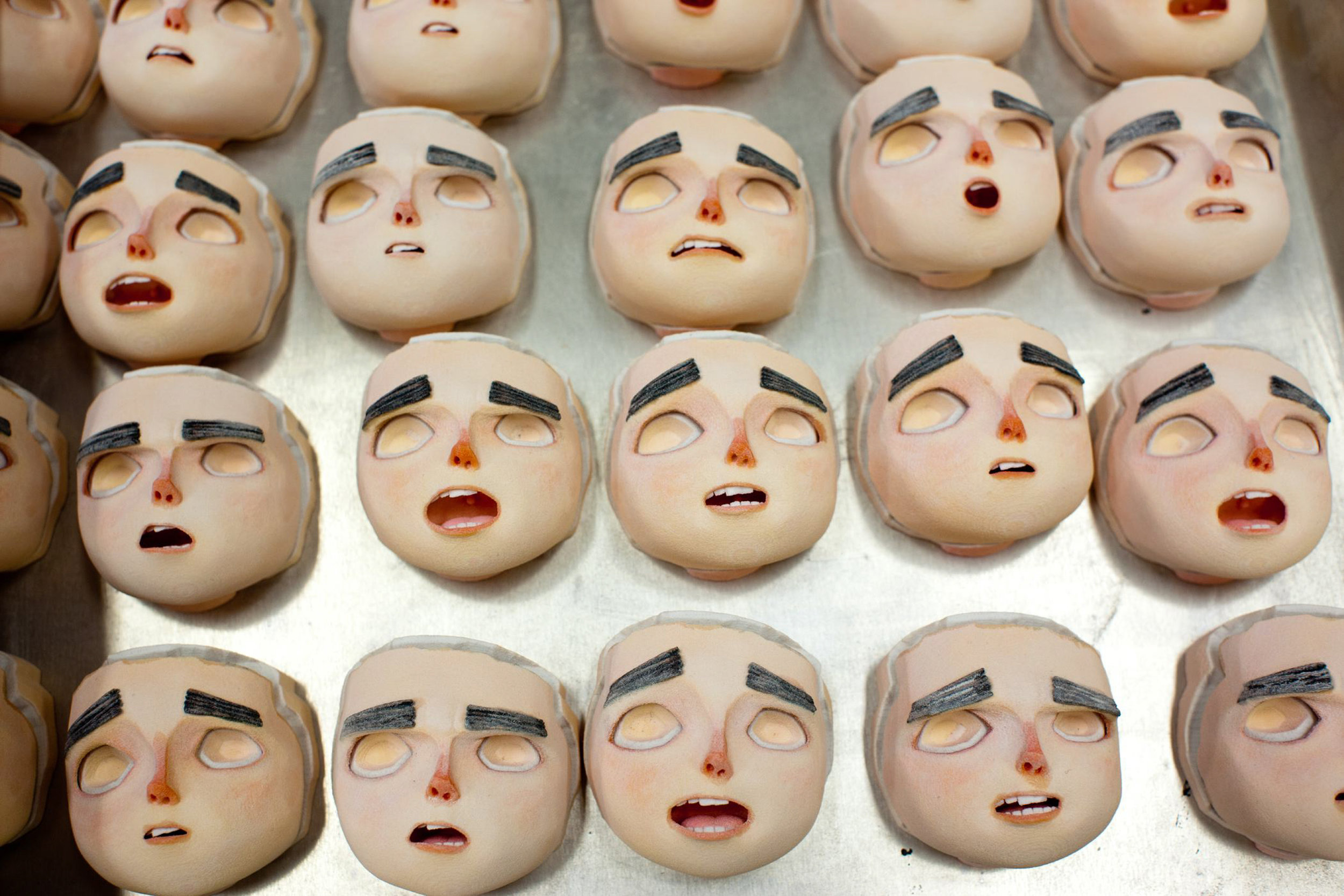 Once printed at LAIKA Studios, there are thousands of faces for animators to choose from for ParaNorman, the new 3D stop-motion comedy thriller.  Credit: LAIKA, Inc.