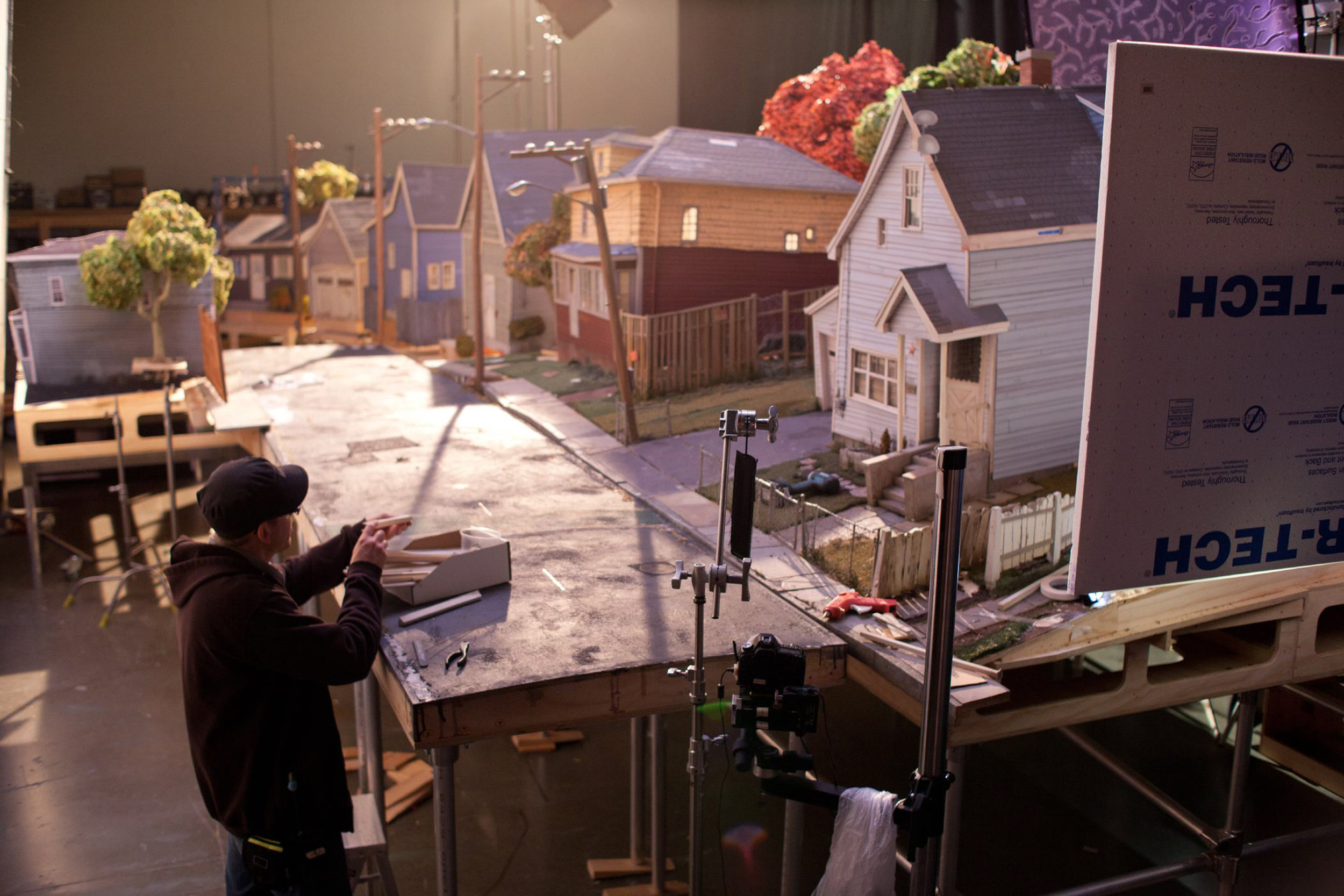 The working set of Norman's neighborhood in the town of Blythe Hollow, in for ParaNorman, the new 3D stop-motion comedy thriller.  Credit: LAIKA, Inc.