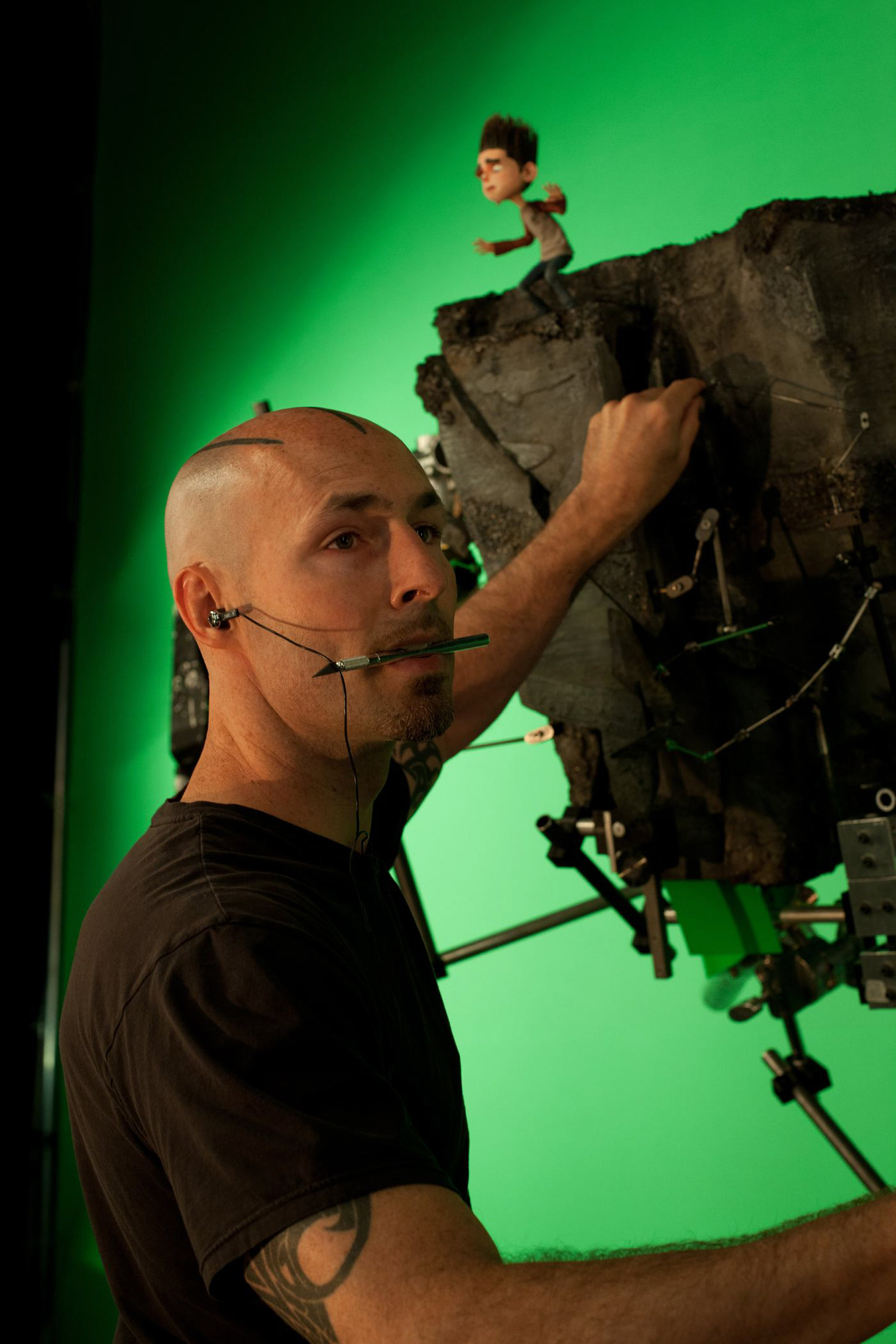 Animator Justin Rausch helps put Norman in a dangerous situation for ParaNorman, the new 3D stop-motion comedy thriller.  Credit: LAIKA, Inc.
