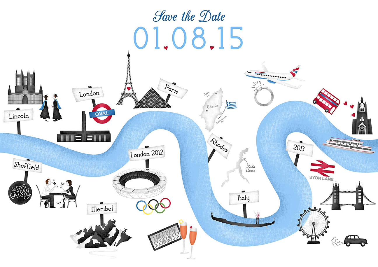 London Themed Save the Date Cards