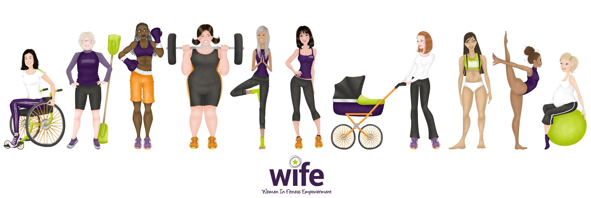 WIFE Events Bespoke Illustration for use on  WIFE 's website and across their  social media .
