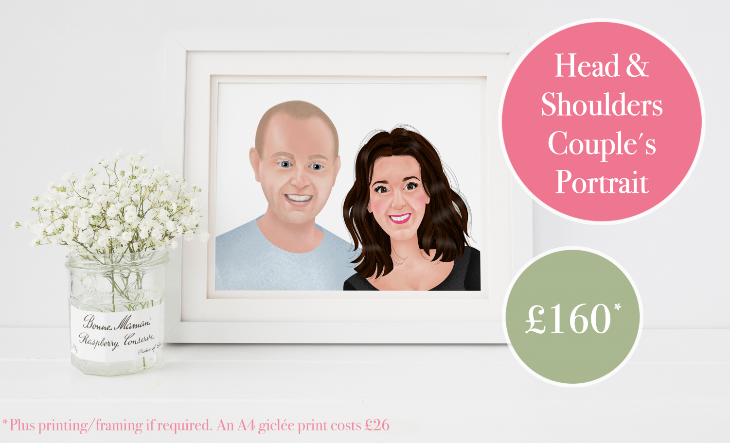 Couple's Portraits - from £160 (x2 people illustrated from the shoulders up).