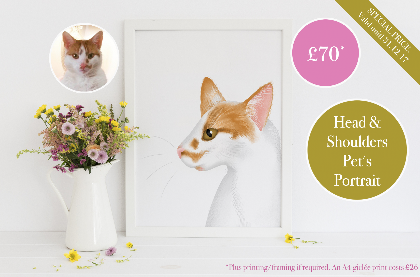 Pet's Portraits - from £70 (x1 pet illustrated from the neck upwards).
