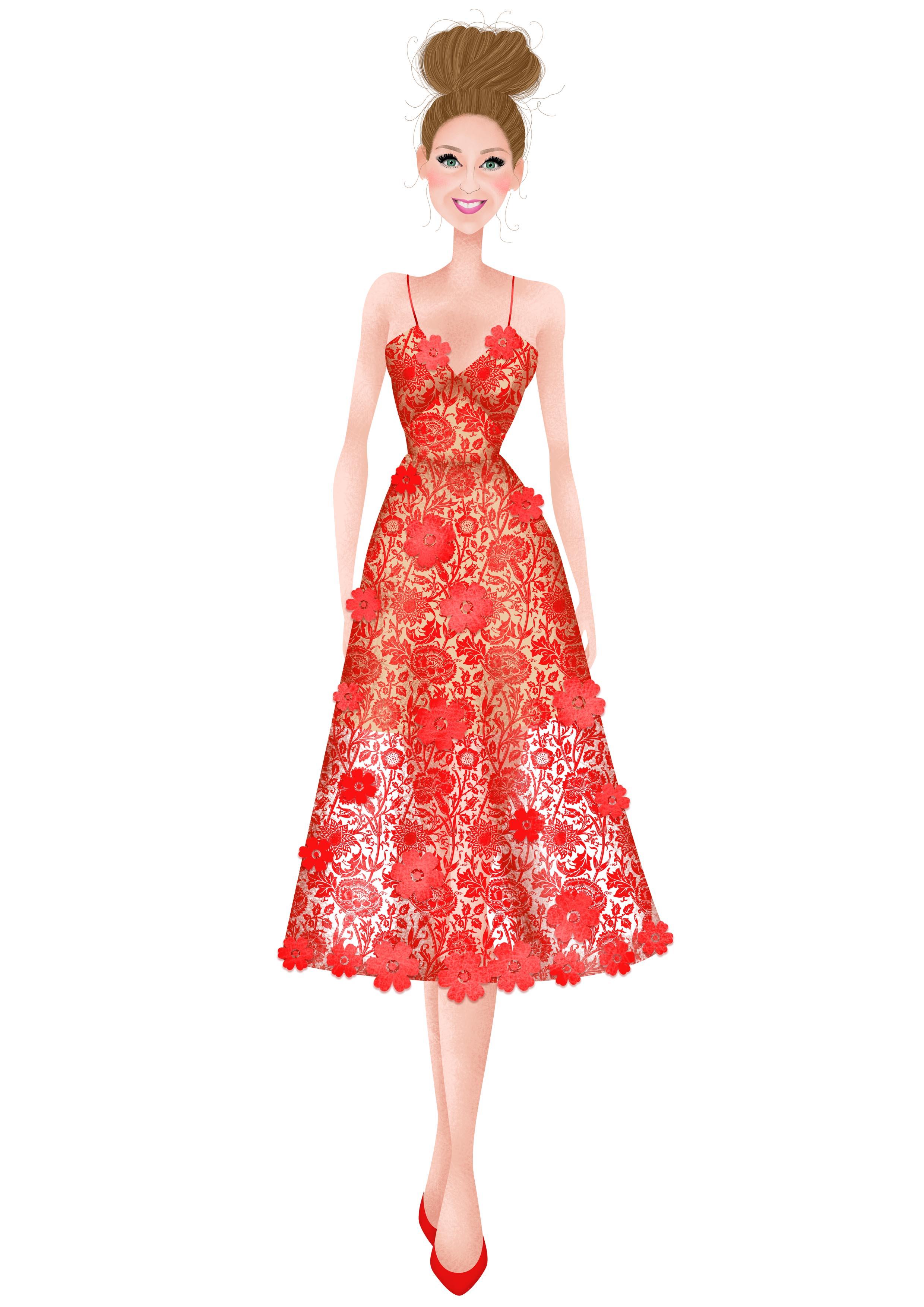 3D Floral Azalea Dress in Tomato Red  by Self-Portrait