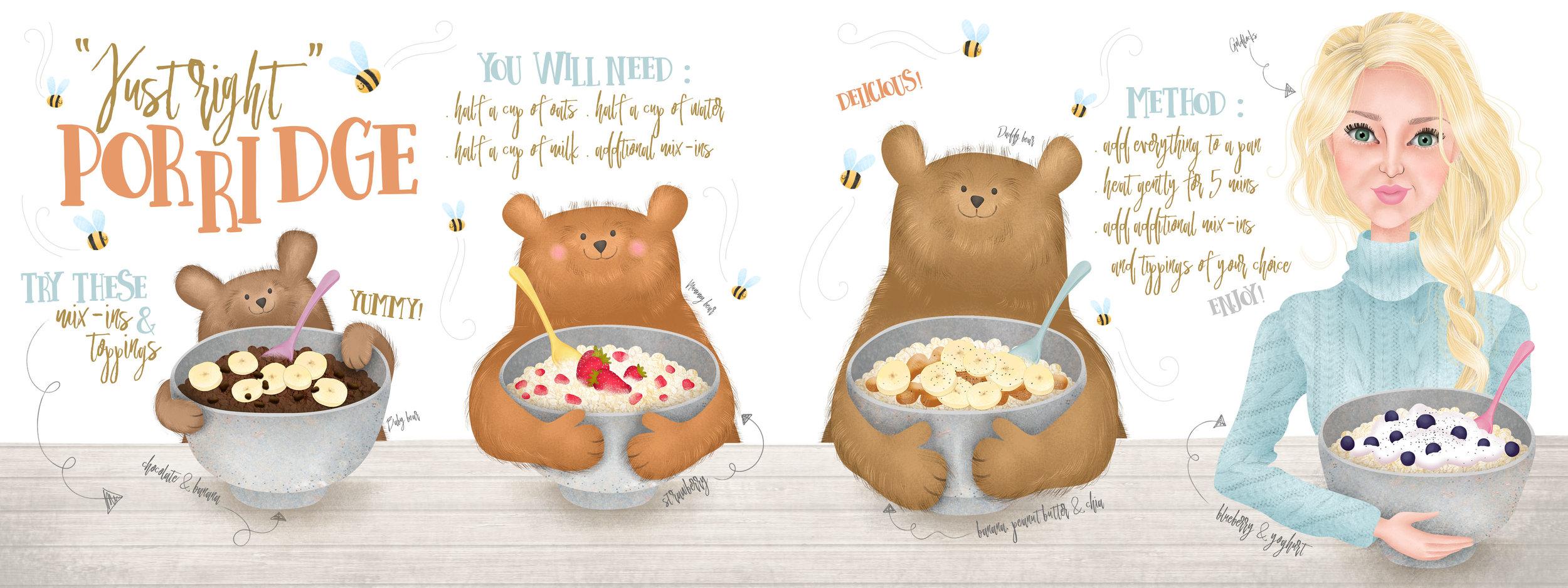 """Just Right"" Porridge – Goldilocks and The Three Bears inspired."