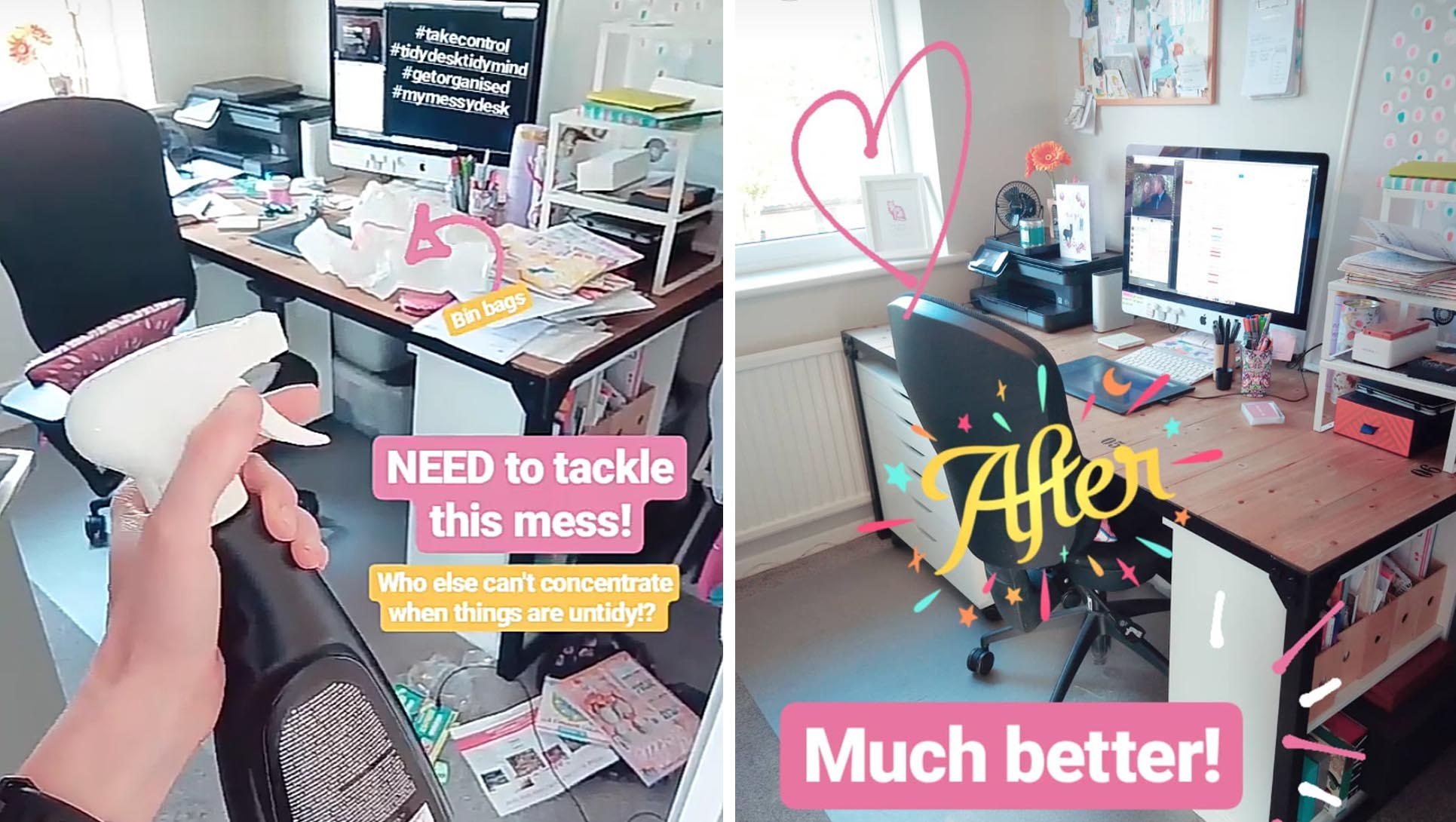 Here's my little space - what a difference an hour makes! Follow more behind the scenes on  Instagram .