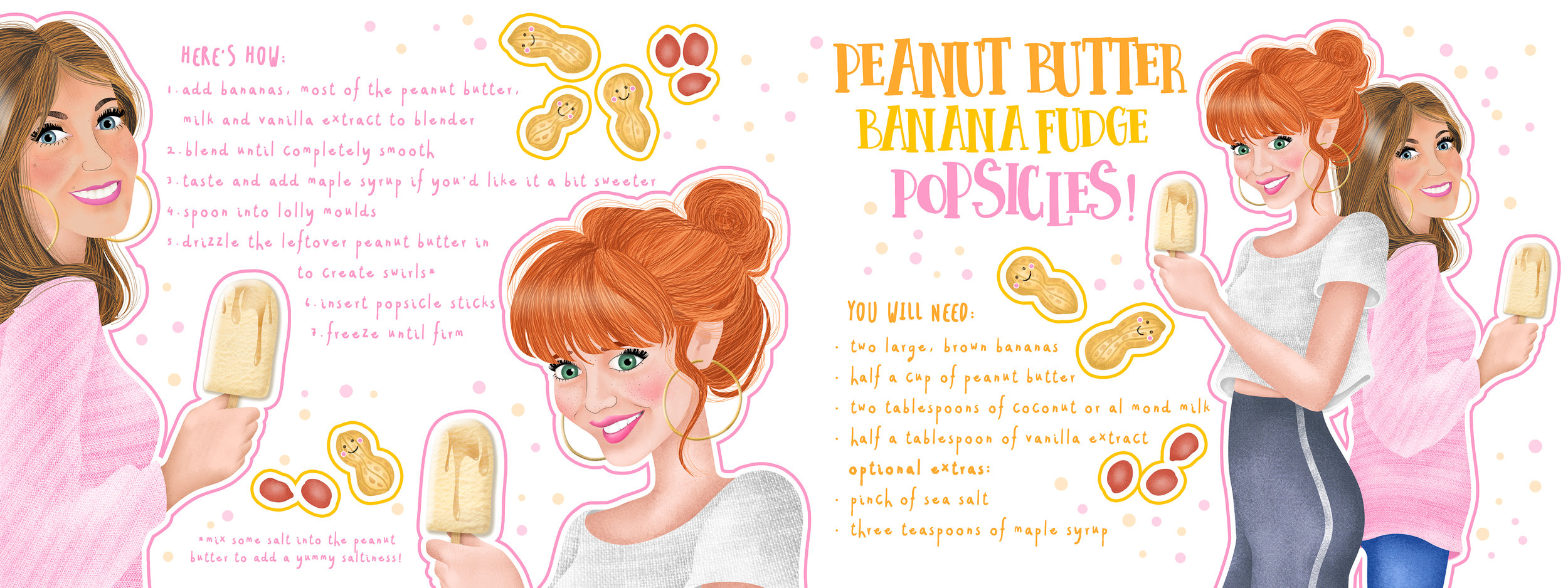 """These are my competition entries for TDAC's """"Illustrated Recipe Competition"""", they ran in October 2018, in collaboration with  Peanut Butter Lovers ."""