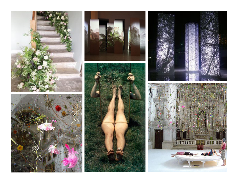 Inspiration - In order to sustain the atmosphere of the space, we proposed to display our artwork by creating free standing structures that travelled throughout the room.We wanted to decorate entrance to the banquette hall with flowers, to correspond withthe show concept.