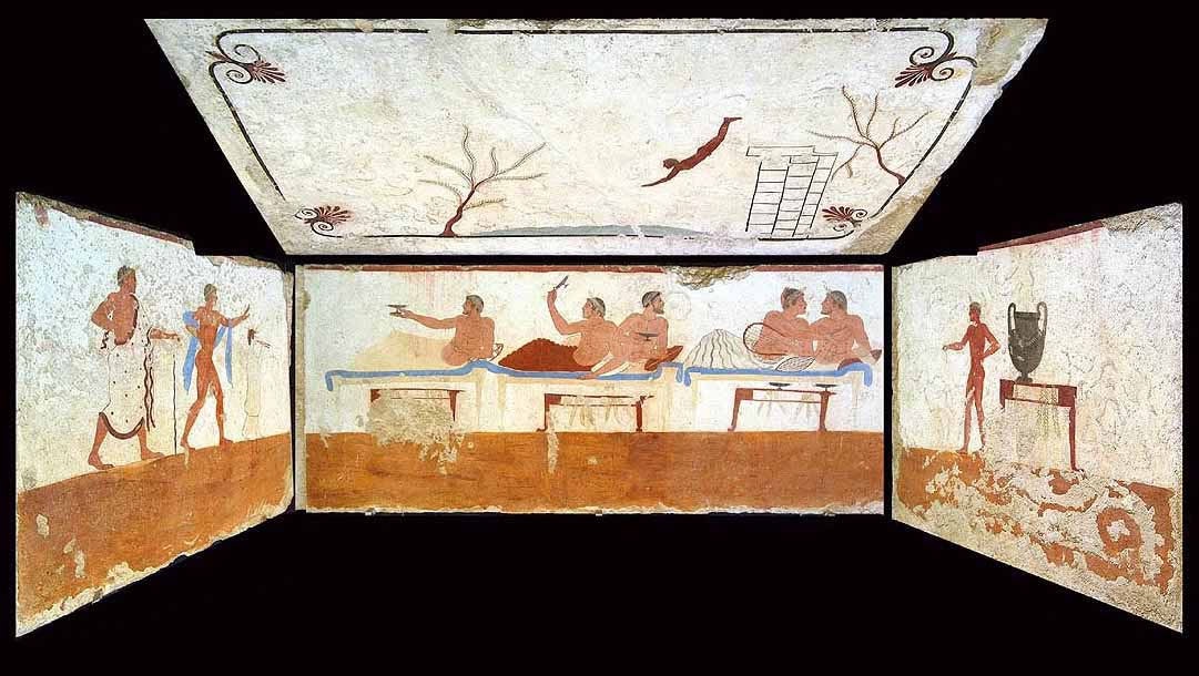 The famous Etruscan paintings in the Tomb of the Diver