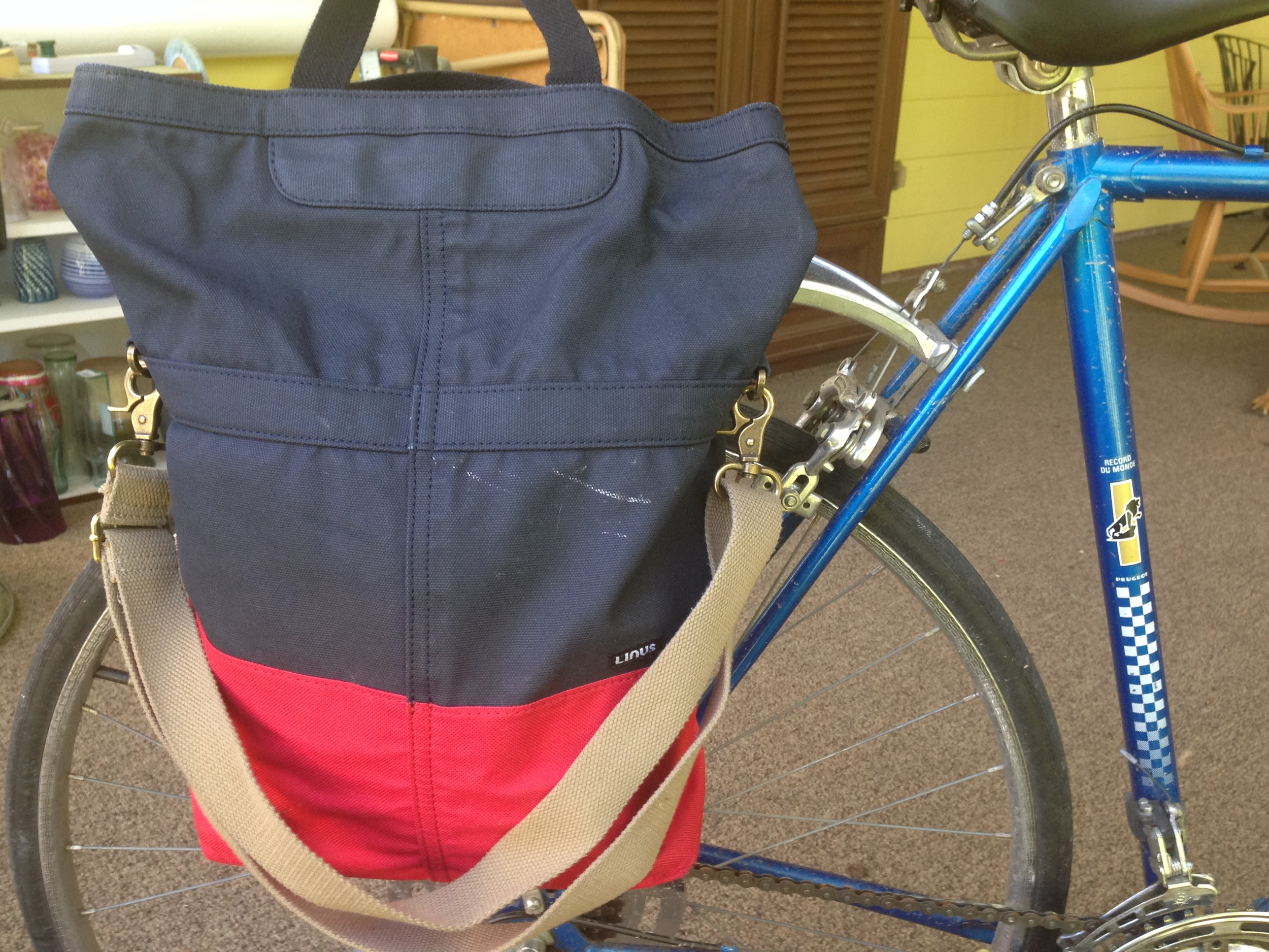 """The Sac"" in navy and red  - paint stain not included :)"