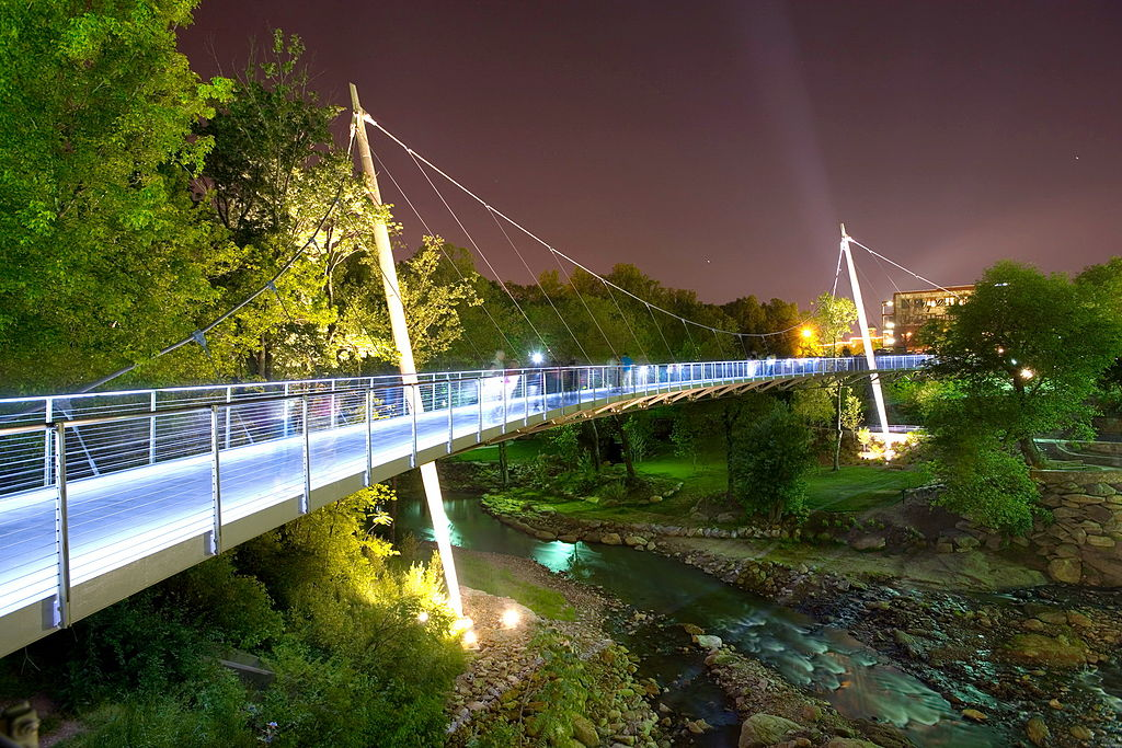 The Liberty Bridge in Greenville used to be a 6 lane Highway. Image courtesy of Rosales + Partners www.rosalespartners.com .