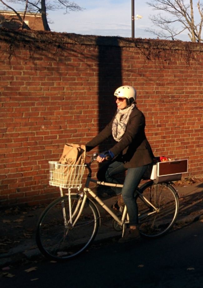 Kathryn Carlson sporting the REID MILLER Apparel Riding Jacket cruising around Boston with her Buca Boot