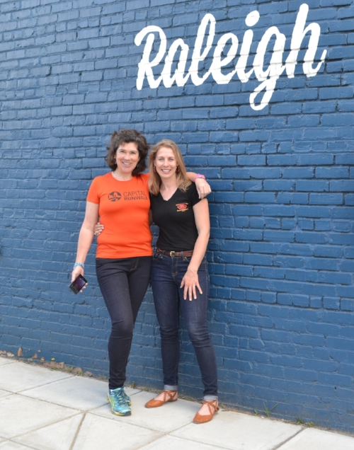 Professor Kate and I sporting the Riding Denim in front of our local start-up campus, HQ Raleigh