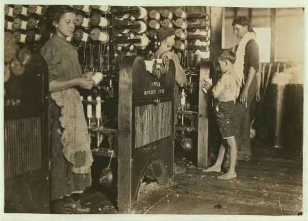 Child labor in the Cherryville Manufacturing Company. Photograph by Lewis Wickes Hine. From the records of the United States National Child Labor Committee.
