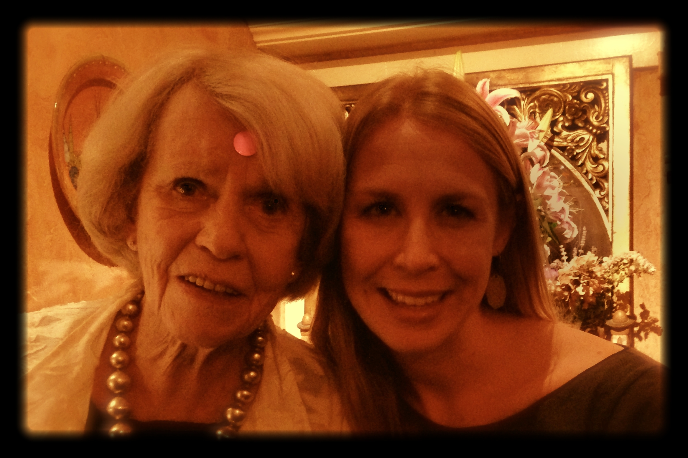 My grandma and I at our family restaurant, The Panama Hotel in San Rafael, CA (I take full credit for the silly purple sticker :)