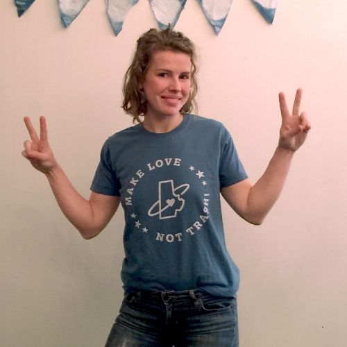 Daria Drake in her t-shirt design for Don't Waste Durham