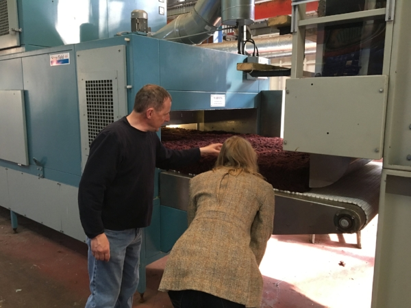 Photo with Calum, the mill manger at Kenneth Mackenzie in Scotland, maker of Harris Tweed