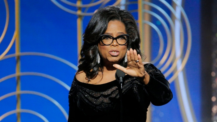 Oprah receiving the Cecil B. DeMille lifetime achievement award at the 75th Golden Globes; Photo credit: Paul Drinkwater/NBC