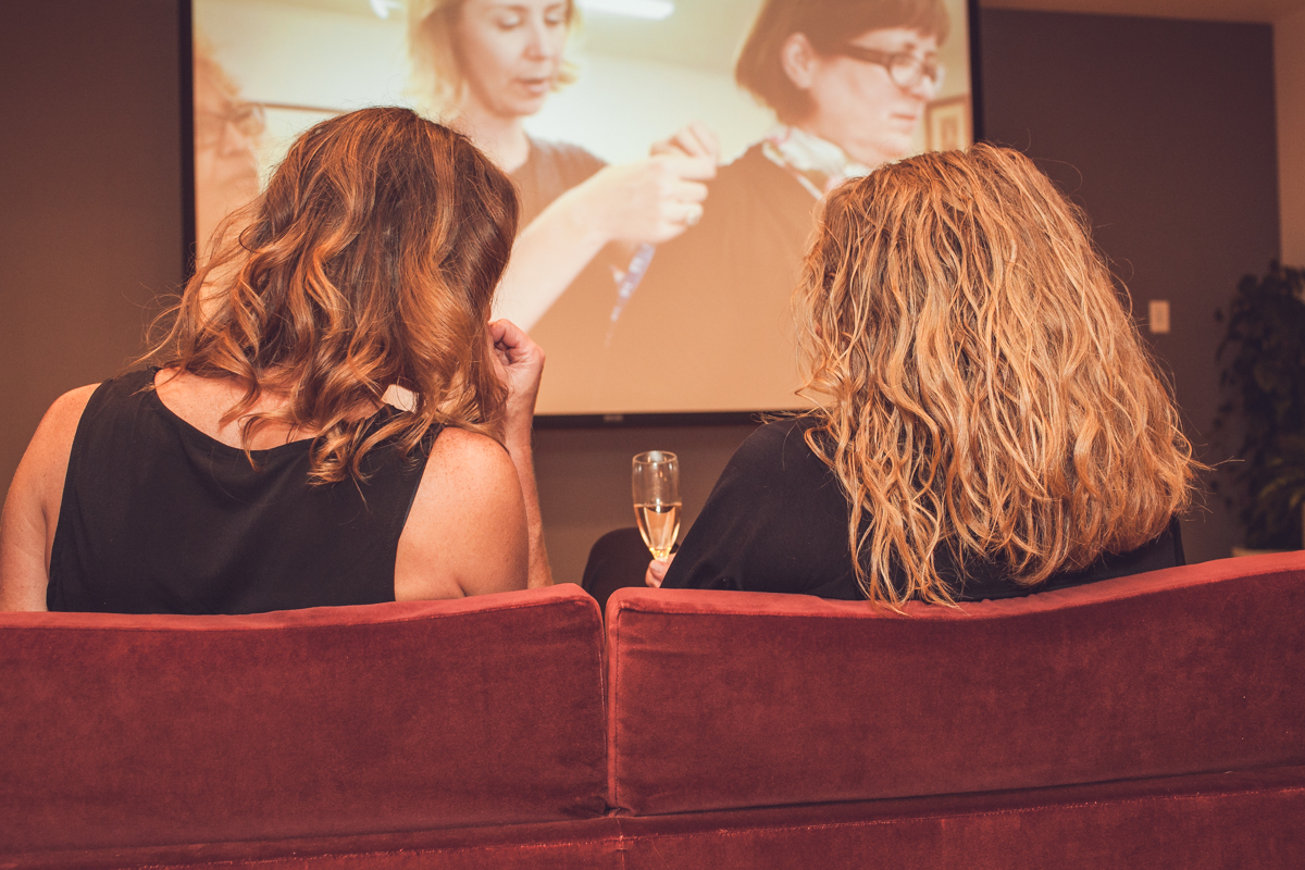 Women at the Durham Hotel Launch party taking in the custom-made womenswear beta testing films. Photo by Maria Brubeck.