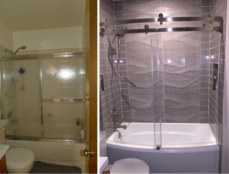 guest bath before. guest bath after.