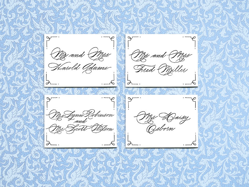 Place Cards  $2.50 per card ( includes name and table number)  - Please contact me for details