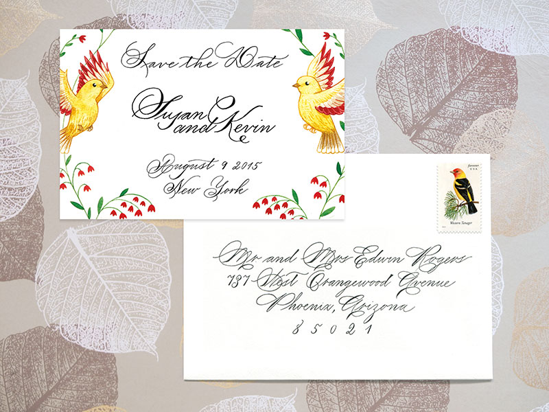 Save the Date and A6 envelope  For design and digital printing of 100 cards $300. Envelop addressing: Outer envelope $4 per envelope, return address $3 per envelope  - Please contact me for details