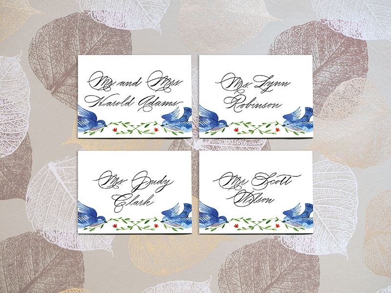 Place Cards  $2.50 per card  (includes name and table number)   - Please contact me for details