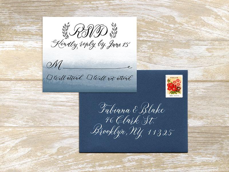 RSVP and A2 envelope  For design and digital printing of 100 cards $300. Envelop addressing: Outer envelope $4 per envelope, return address $3 per envelope  - Please contact me for details