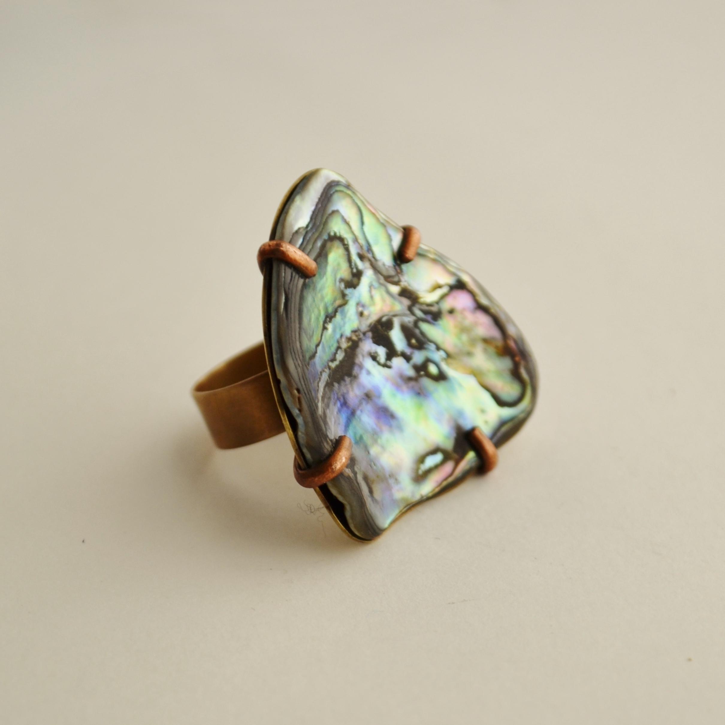 Copper, brass and paua shell