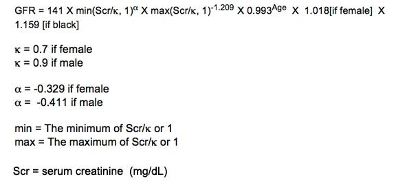 The CKD-EPI equation used for GFR estimation in KDIGO 2012 CKD guidelines.  (Image)