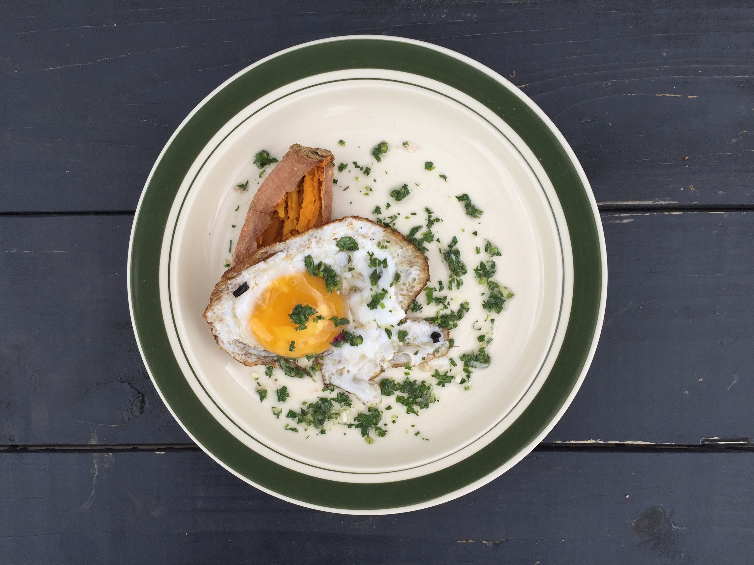 The second course from our April Biofarm to Table Dinner. Duck egg, slow roasted sweet potato, with a chimichurri sauce.
