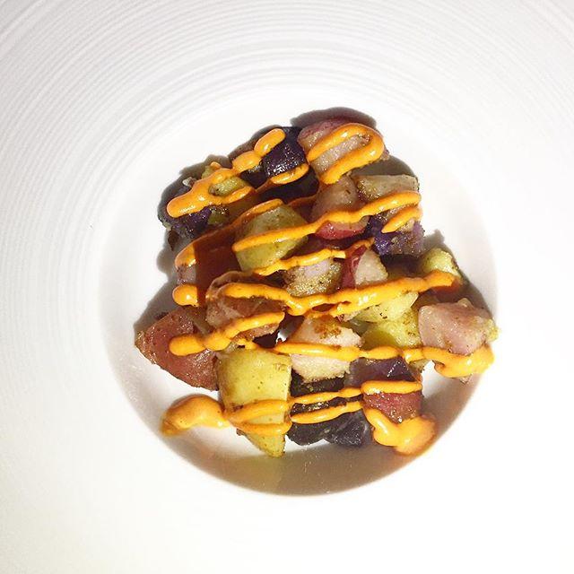 Third course: patatas bravas, Tobago pepper mayo