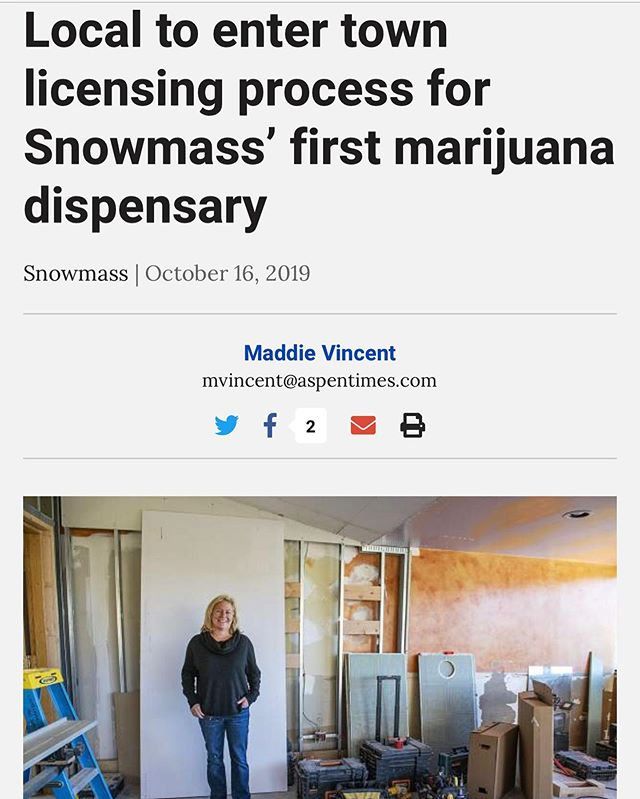 "Guess the news is out! ""This winter, Renee hopes to add Snowmass Village to her list of Roaring Fork Valley organic cannabis dispensaries and open the town's first marijuana shop on the mall.""- Read more at the link in bio."